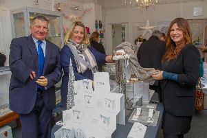Jeremy Balfour MSP and Cllr Janet Lay-Douglas visit Jenny of Jenny Blossom Jewellers in Bonnyrigg High Street as part of a small business initiative.
