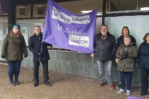 Unison union members protesting  against potential Midlothian Council cuts in Jarnac Court, Dalkeith, last week.