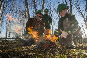 Forest & Food Co-op  launch at Dalkeith High School, Midlothian.'''Ethan Mowat, and Robbie Bain, shown bushcraft fire making with Billy Gray , Principal Teacher, Sustainability''Pic Phil Wilkinson