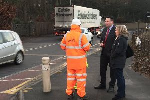 Miles Briggs MSP and Councillor Pauline Winchester with road safety engineers at Hillend Junction.