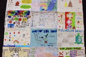 The 12 shortlisted entries in the Three Ps Scottish Water Midlothian schools poster competition.