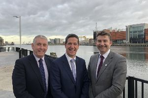 MSP Brian Whittle with Andrew Kane (Stena Line Belfast & Cairnryan ports manager) and Michael Robinson (Belfast Harbour commercial director).