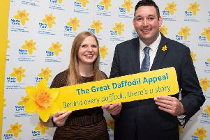 From left to right: Susan Brown from Marie Curie with Miles Briggs MSP. Photo:  Marie Curie/Lenny Warren.
