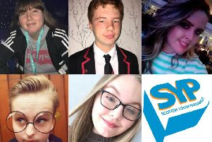 Midlothian's Scottish Youth Parliament candidates. Top row (left to right) Mellisa Reidie, Blaine Ferguson and Aimee Gorrie. Bottom row (left to right) Caitlin Chambers and Emma Murray.