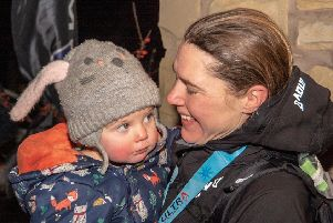 Jasmin Paris -  reunited with her 14 month old daughter Rowan'at the end of the race.