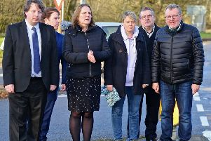 Michelle Ballantyne, Shona Haslam and David Mundell at the Leadburn junction.