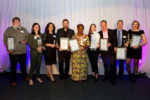 Mid & East Lothian Food & Drink Awards 2019. Photo caption: L to R: Mark Gibson (The Filling Station Longniddry), Karen Calvert (The Paper Mill), Marissa Pia (Gigi's Italian Restaurant), Ross McGregor (Archerfield Walled Garden), Maggie Mazoleka (MaRobert's), Charlotte Flemming (The Nether Abbey), Stirling Stewart (The Nether Abbey), Steve Stewart (Stewart Brewing) and Jo Stewart (Stewart Brewing).