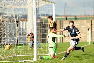 Player of the Year nominee Kevin Nisbet scores for Raith Rovers (Pic by Fife Photo Agency)
