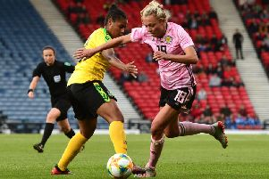 Claire Emslie in action for Scotland against Jamaica
