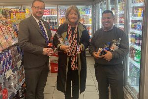 Margaret Mitchell MSP with the Scottish Grocers' Federation's John Lee and Nisa Local Store owner Abdul Majid