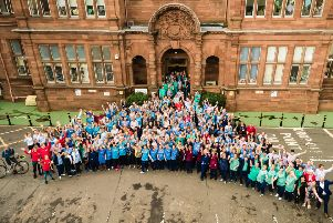 To help mark the end of an era for the Royal Hospital for Sick Children, staff gathered outside the main entrance of the Royal Hospital for Sick Children in Edinburgh for a final farewell photo