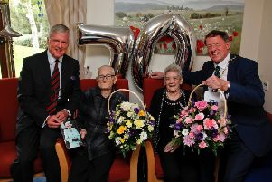 Rose and John Ferguson on their 70th wedding anniversary with provost Peter Smaill (right) and vice Lord-Lieutenant Richard Callander at Salisbury View sheltered housing, Mayfield.