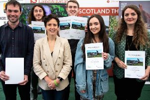 Pictured from left to right are Jonathan Peters, Joel Saunders, Rural Affairs Minister Mairi Gougeon, overall winner Gregory Vaux, Katie McDowall and Catriona Spaven-Donn.
