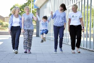 Mums from Mums Walk Midlothian outside the Lasswade Centre for the launch of  NHS Lothian's Green Health Strategy.