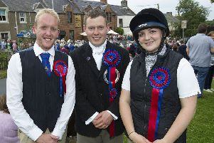 Callant Euan Munro with his cousin Robert Munro and lass Dani Kirkman