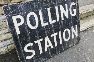 Polling station stock photo.