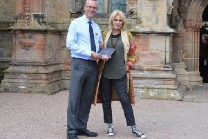 Joanna Lumley with Ian Gardner, director of Rosslyn  Chapel Trust.