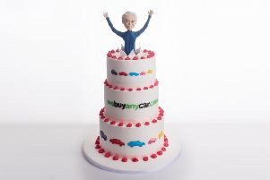 Webuyanycar.Com teamed up with Linlithgow's Cakeflix to recreate Phillip Schofield cake advert in real cake