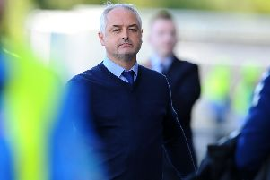 Ray McKinnon at the end of the game against Montrose. (picture: Michael Gillen)