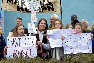 Pic Lisa Ferguson. The protest outside Midlothian House in February.