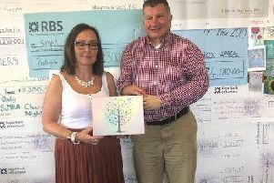 Jeremy Balfour MSP with Sara Fitzsimmons, CEO of SiMBA at their offices in Mcsence Business Park in Dalkeith, displaying one of the memory boxes that they produce and hand out to bereaved families.