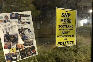 Anti-SNP posters have appeared across Penicuik including at this bus stop.