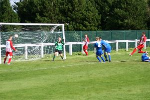 Newburgh find the net at the weekend. Pic by Graham Strachan.