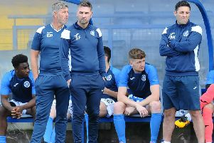 Saturday's defeat by Falkirk was a tough watch for Stevie Farrell and his bench (pic: Michael Gillen)