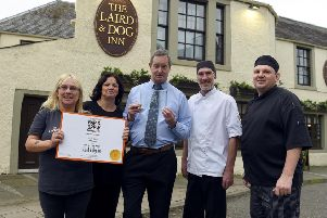 Some of the Laird & Dog team - (LtoR) Pamela Philip, Sharon MacNab, Adam Bolton, David Cameron & Colin Furness. Pic Lisa Ferguson 07/10/2019