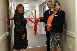 An innovative dementia community suite has officially been opened at Springfield Bank care home in Bonnyrigg. L-R - Lynne Rennie, Graham Stokes, Jackie McDonald.