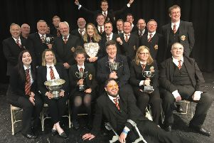 Newtongrange Silver Band, pictured at the Northern Counties Brass Band Contest in May with six trophies.