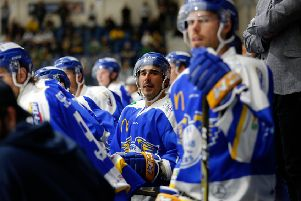 Mike Cazzola on the Fife Flyers bench. Pic: Steve Gunn