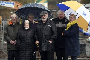 David Adam (local historian),and  community councillors Annabel Hamilton, Gina Temple, Pat Kenny and Charles Hamilton, with Midlothian councillor Kelly Parry,  at the site to be called Canmore Court, next to St Margaret's Church. Photo by Lisa Ferguson.