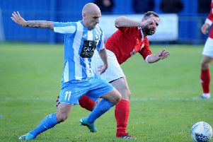 Penicuik's Paul Tansey gets into the box.