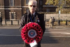 Neil Munro from Gorebridge,  at the Cenotaph Whitehall London on the 10th November, Remembrance Sunday.