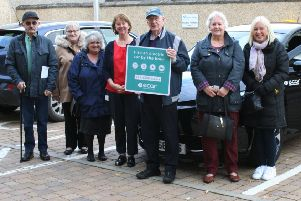 Melville launches Midlothian's first electric car club. Photo shows (left to right all Melville tenants unless indicated otherwise) Frank Kelly, Ann Hazard, Eileen McLaren, Melville Chief Operating Officer Morag MacDonald, Peter Middleton, Barbara Shearer and Diane Gamrot.