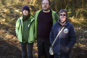 Pic Lisa Ferguson 09/12/2019. Local residents Daya Feldwick, Mark Turner and Helen Kirkness, who are angry at the felling of trees by Taylor Wimpey to build new homes.