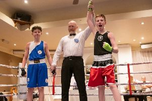 Ryan Murray winning by unanimous decision at Sparta boxing academy Scotland v England night (picture: Ruaridh Braes EINDP.CO.UK)