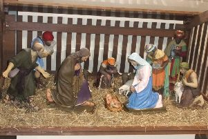 The original Dalkeith Nativity Figures.  On display in Dalkeith Museum until 20th December and from 7th until 10th January.