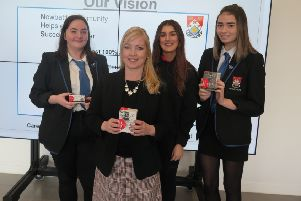Cllr Parry is pictured with Newbattle High School S6 pupil Becky Stevenson, Newbattle leisure assistant, Erin Clarkson and S6 pupil Cara Pryde.