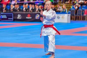 Emma Ruthven shows off some of her Kata moves during the competition in Budapest last weekend