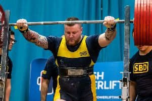 Mark Macqueen on his way to his first British powerlifting title
