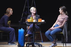 Still Alice cast, left to right, Eva Pope as herself, Sharon Small as Alice and Ruth Ollman as Lydia. (Photo: Geraint Lewis).