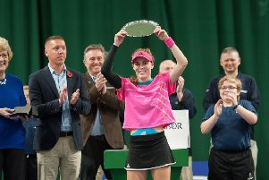 Maia Lumsden with her trophy after winning the ITF tournament in Shrewsbury (pic by Richard Dawson)