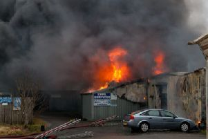 Firefighters tackling a blaze at Innerleithen's Station Yard on Wednesday, February 13.