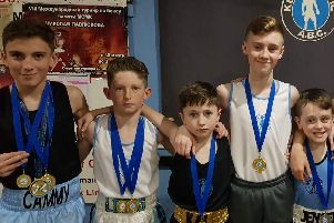 Some of the talented crop of youngsters who are hitting the heights as members of Keir Hardie Amateur Boxing Club in Newarthill