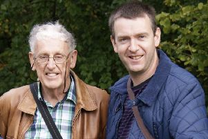 Simon, pictured above with his late father, Howard Birkby, whom he is fundraising in memory of.
