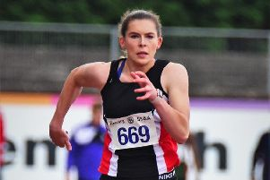 Ellie O'Hara Scottish Schools Athletics Championships Peebles High School won gold in U17 triple and long jump and bronze in 100m  (picture: Neil Renton)