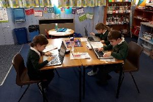 Crathie pupils hard at work on the digital programme