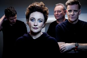 Lorraine McIntosh, pictured with members of Deacon Blue, Dougie Vipond, James Prime and Ricky Ross, is backing the Simon Community Scotland's Nightstop campaign. (Picture courtesy of Paul Cox)